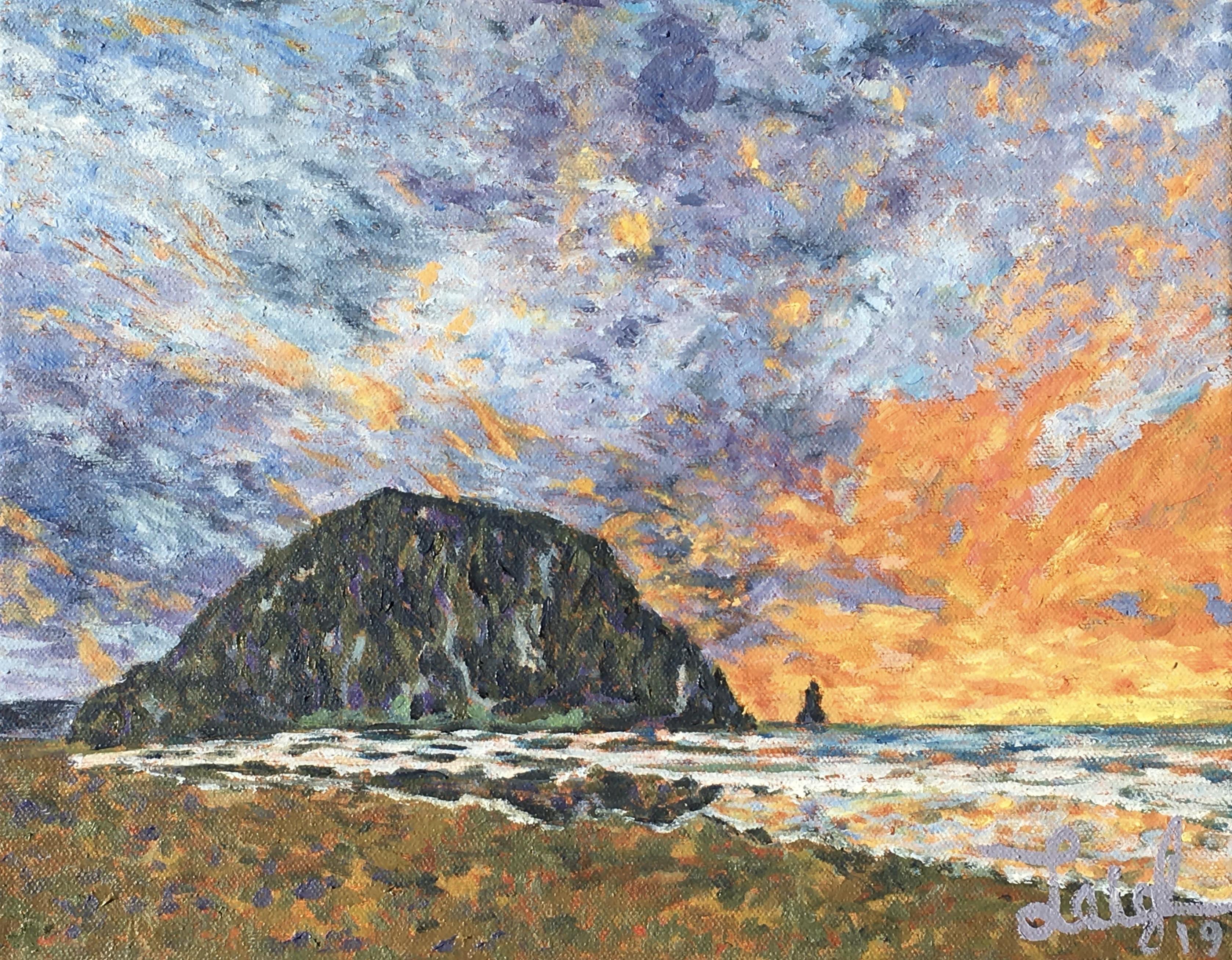 Morro Rock Series #3 (Sunset)  ~  Brian Pickett, La Jolla, CA 2019  •  14 x 11