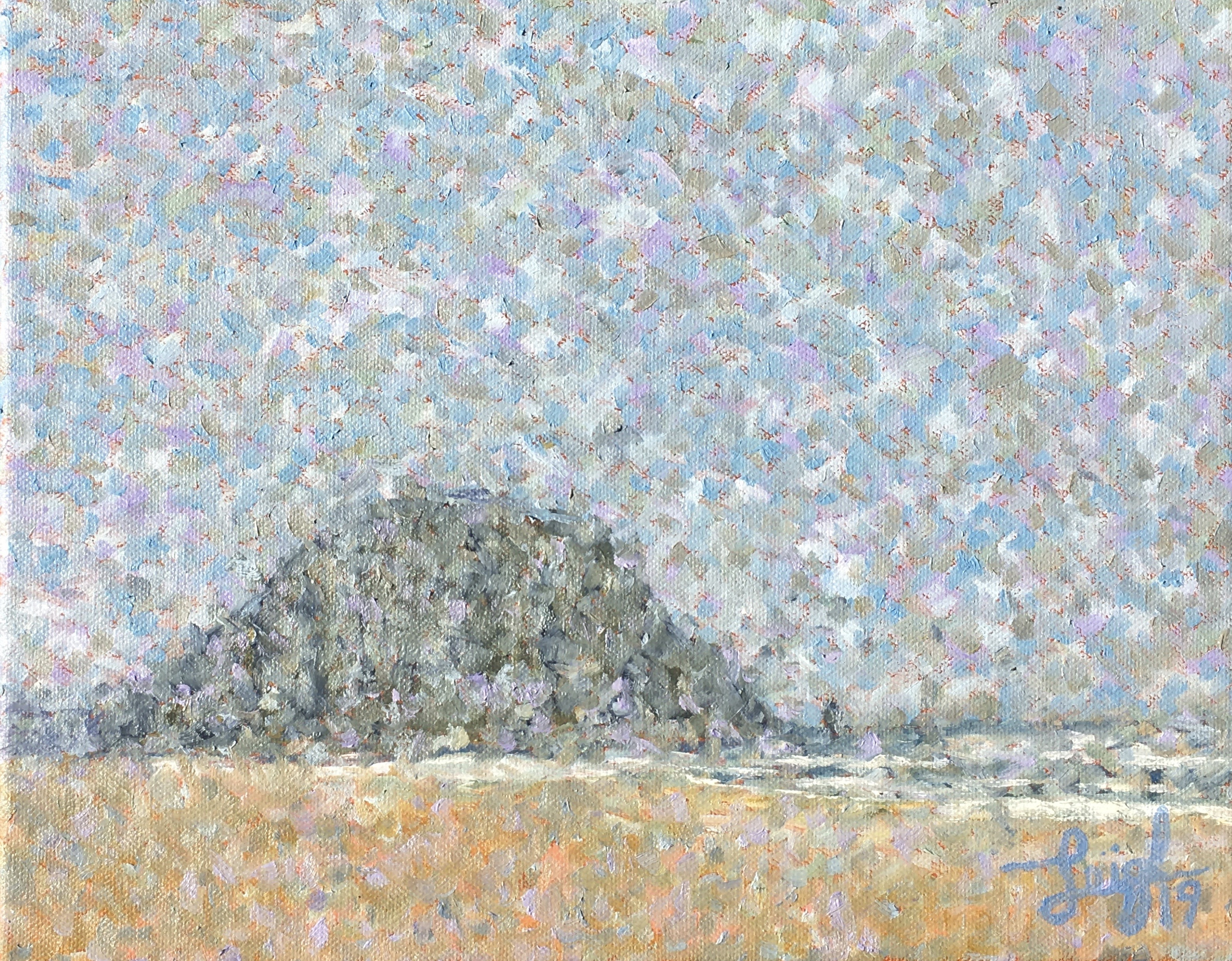Morro Rock Series #2 (Fog Effect)  ~  Martha Levine, Camp Hill, PA 2019  •  14 x 11