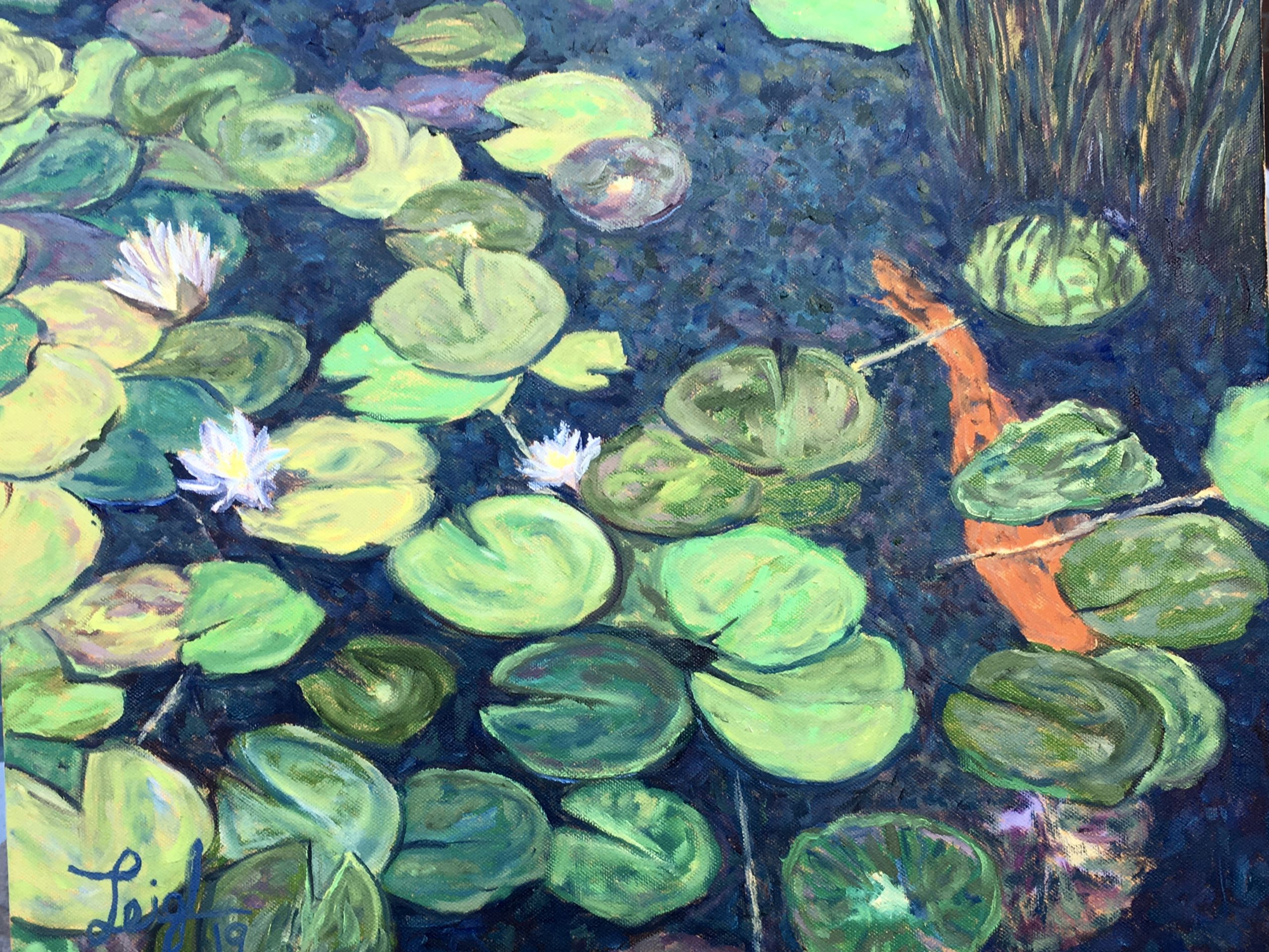 Water lilies in Balboa Park #5  ~  Amy & Tom Booth, San Diego, CA 2019  •  20 x 16