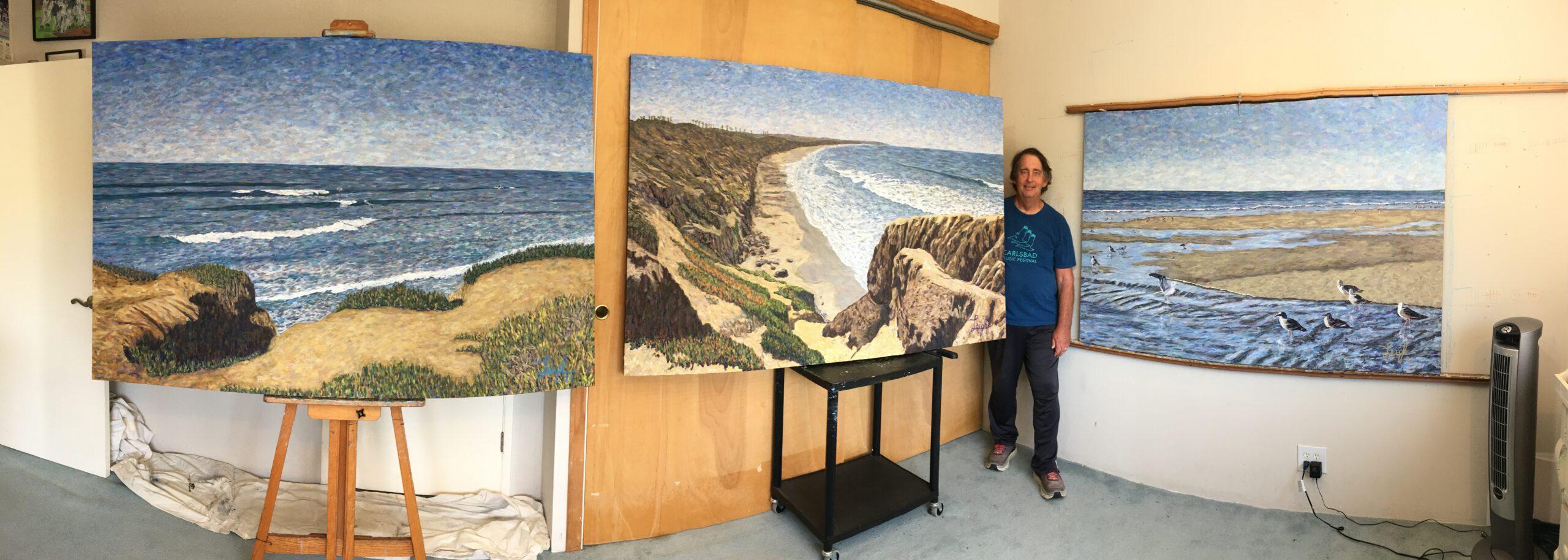 Leigh with 3 Carlsbad Beach paintings  •  2021